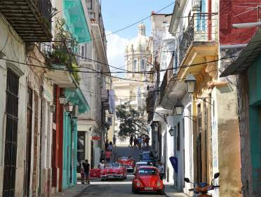 Capitol street view in Havana with cars