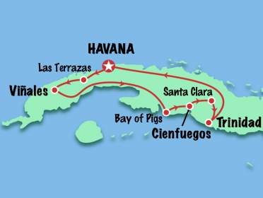 Itinerary map - 9 day Cuba Tour for Americans